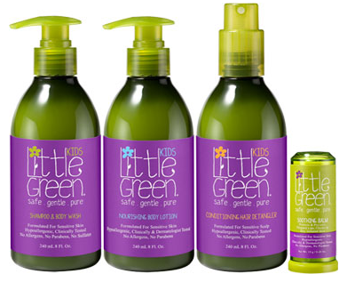Their products: shampoo, lotion, detangler, and body balm.