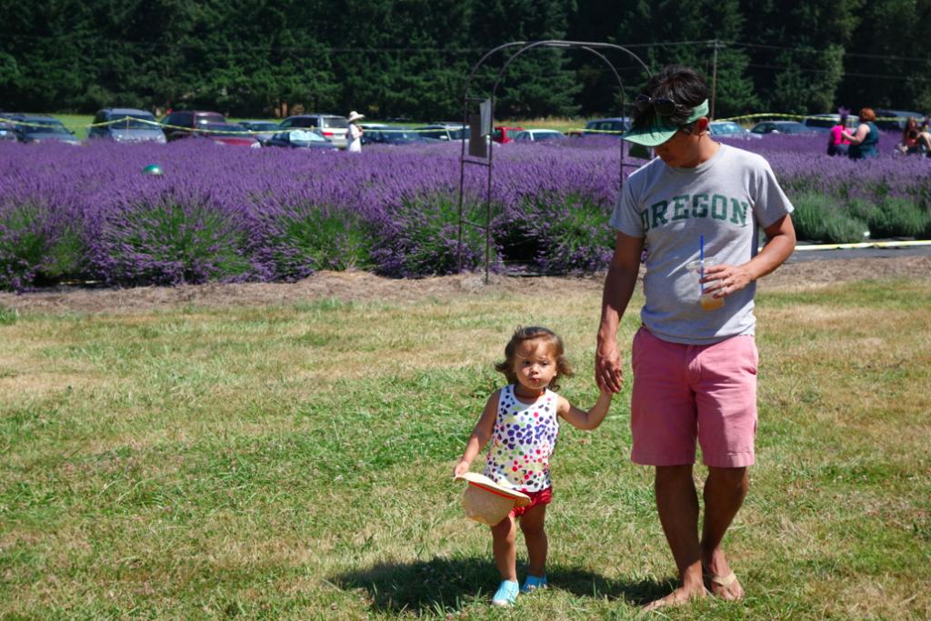 Papa, Zoe, and purple.