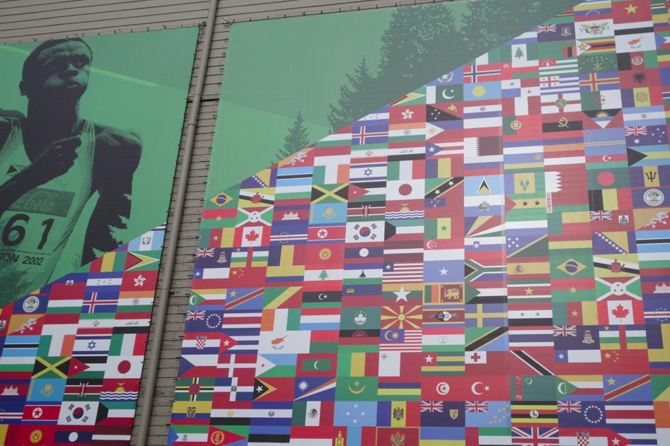 World flags on side of Hayward Field.