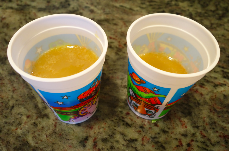 Store in a cup. Yes, these are plastic kids cups and kind of looks like pee, but don't mind that. it is SO delicious -- tangy, spicy, sweet.