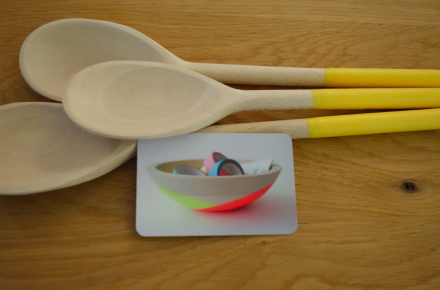 Spoons, bright and cheery.