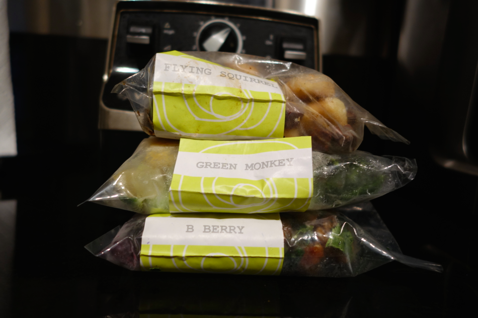 Three of my individual smoothie packs. It is so hard to choose which flavor to order, let alone eat! I want them ALL, and all at ONCE.