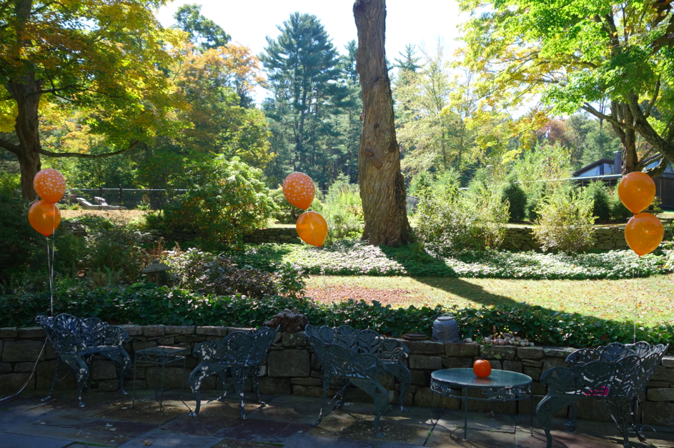 Pre-party. With orange balloons.