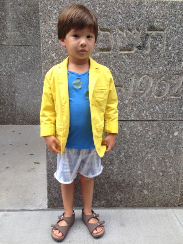 Yellow blazer from Bonpointe (thanks Mom).  Birks from Birkenstock (thanks me!)