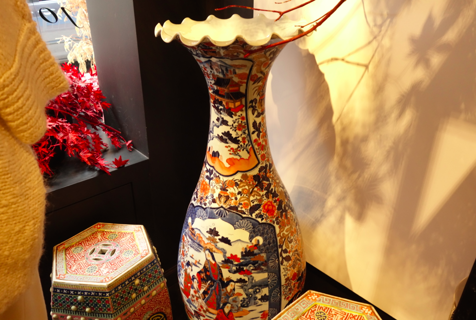 Antique vases a la Mrs. Natori's own home.