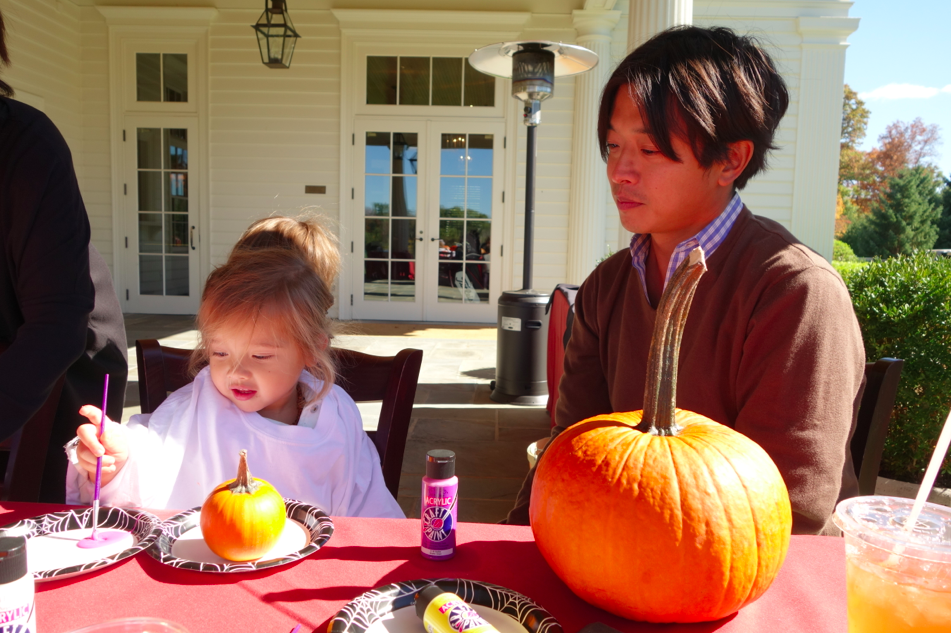 Painting pumpkins.