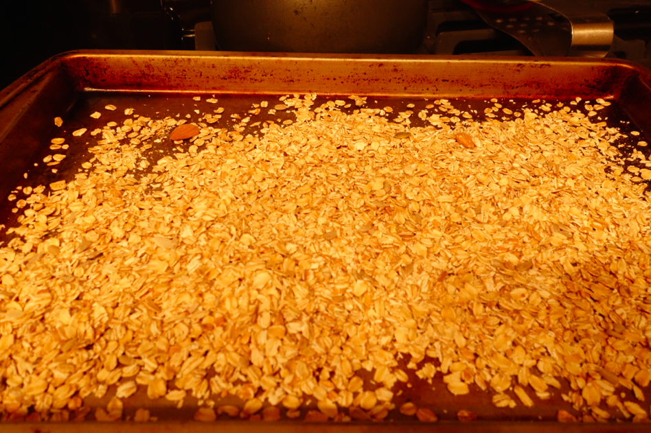 Roast the oats for 10 minutes, just so they are a little brown and a tad bit crunchier.
