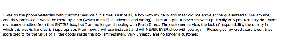 My email to Fresh Direct, aka Monopoly of Delivery Groceries in NYC and SUCK