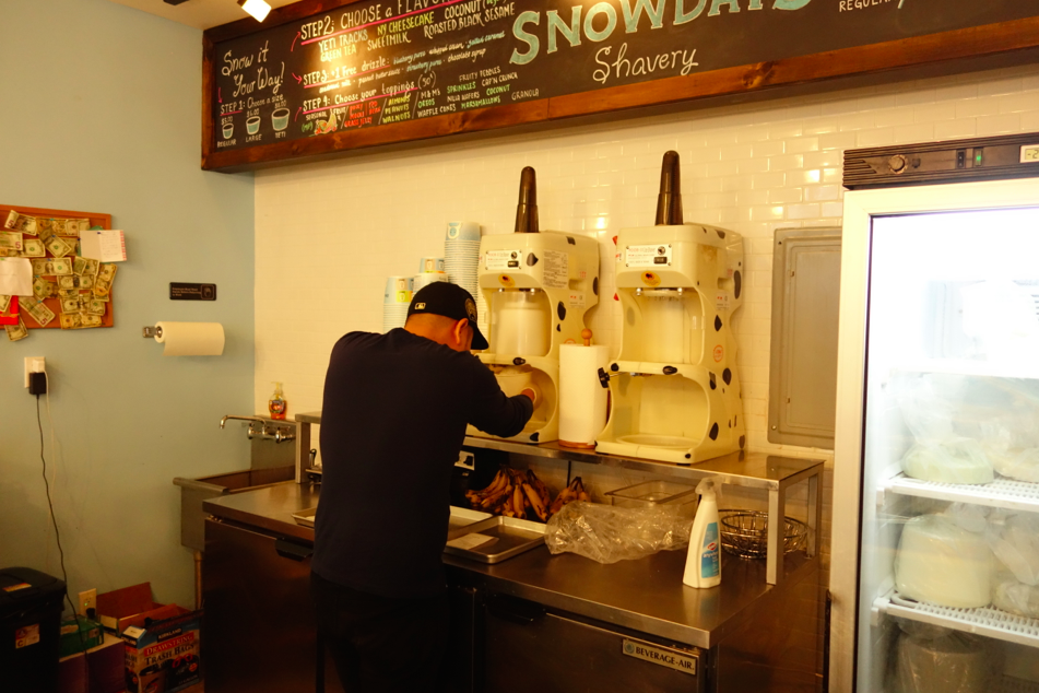 Hard at work preparing the snowy cups of heaven.