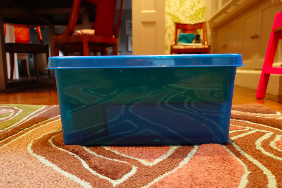 Blue box from the side.