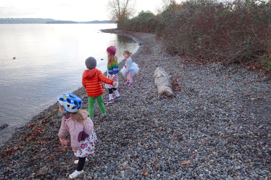 Cousins skipping rocks.