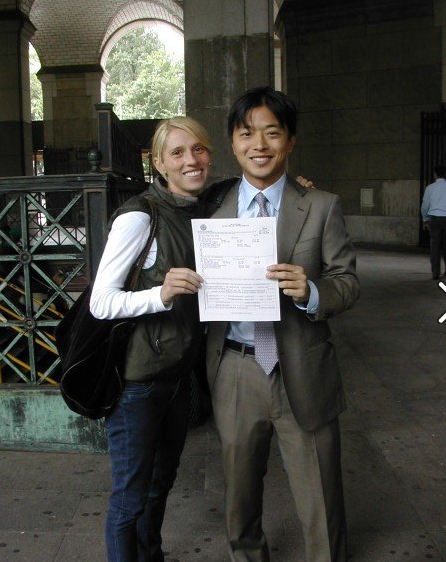 Before: a pic from 2007. I think I could fit in Ken's pant leg with him. FYI- this is right after we got our marriage certificate!