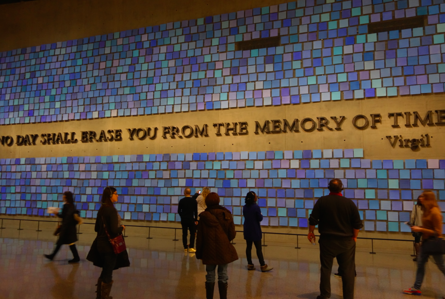 The famous quote, made out of steel from the building of the World Trade Center. The artwork is painted paper done by artist .......
