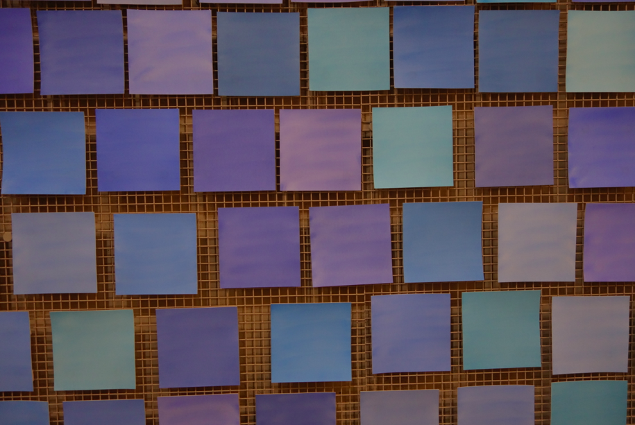 """The blue """"tiles"""" represent the blue sky that was present on the morning of 9/11. Each tile is for the nearly 3000 victims that lost their lives -- each blue is a unique and different shade."""