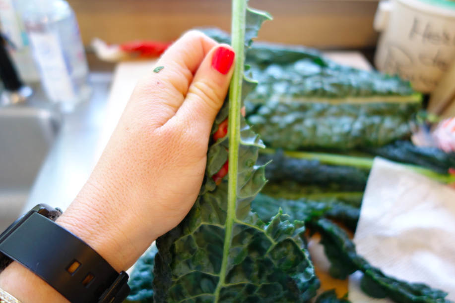 Strip the leaf off the stem (more evidence that kale really is just one big leaf).
