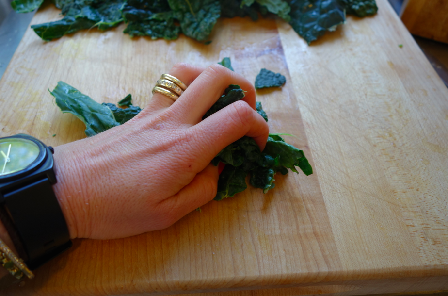 Finely chop the kale.
