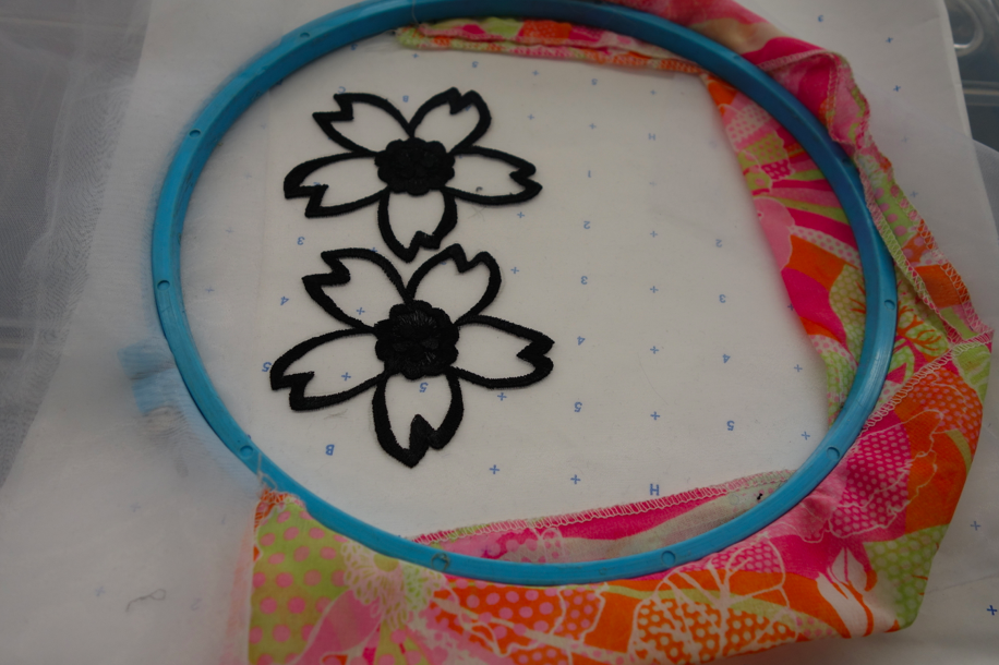 Working on a flower beading job.