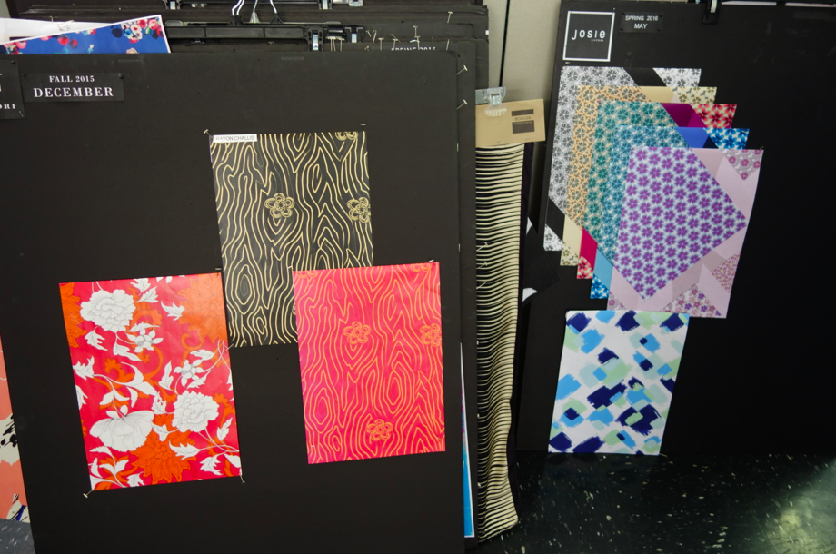 Boards of prints and ensembles.