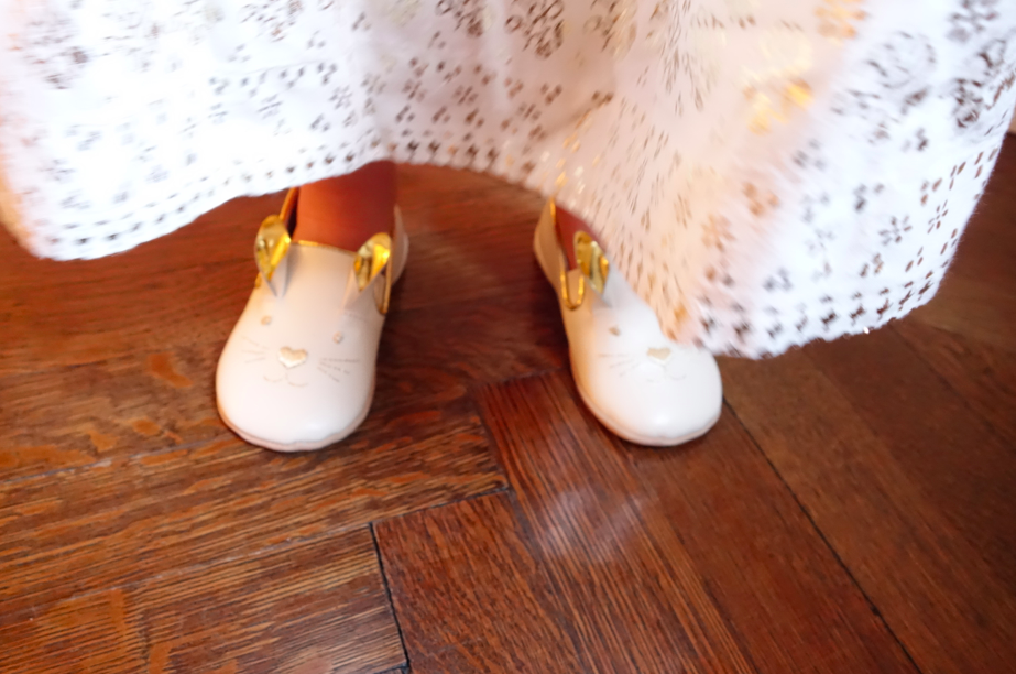 Bunny shoes! White and gold!