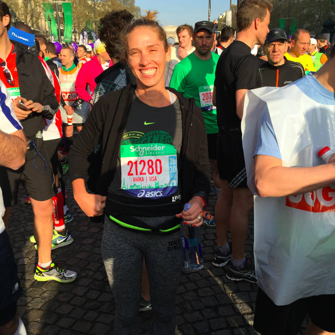 Pre-race. A friendly French man took my picture. Merci.