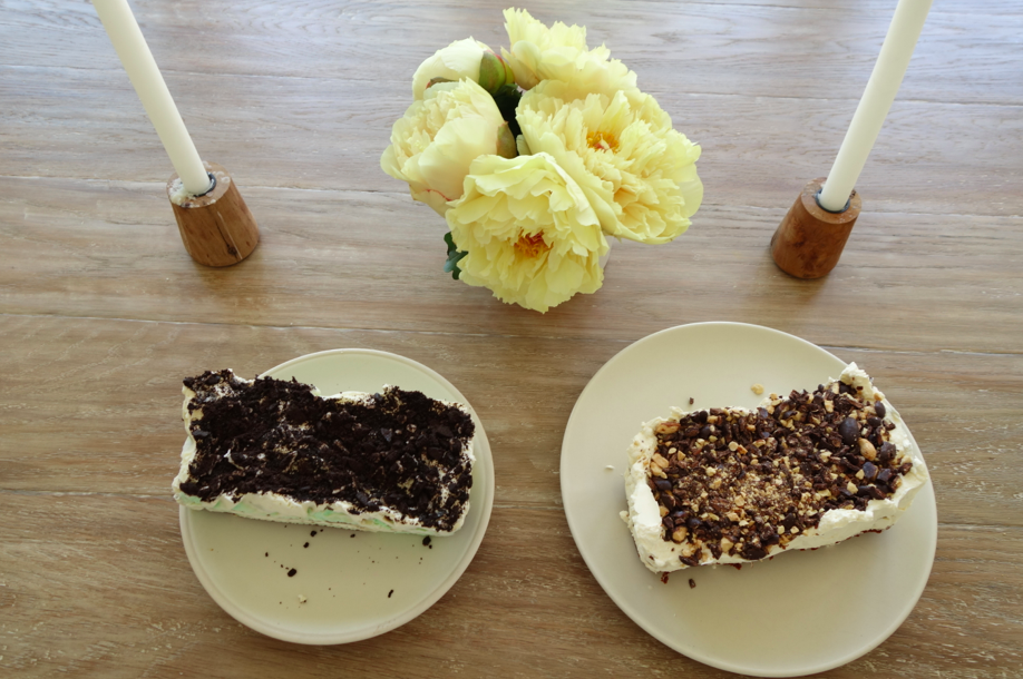 Two cakes - the other one is a mint ice cream cake made with mint ice cream sandwiches and mint extract in the whipped cream. Holy cow, deliciousness. Holy cow and not skinny cow.