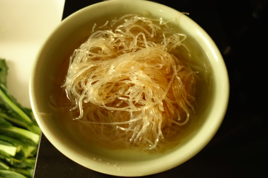Rinse the kelp noodles and let sit in warm water for 10 minutes.