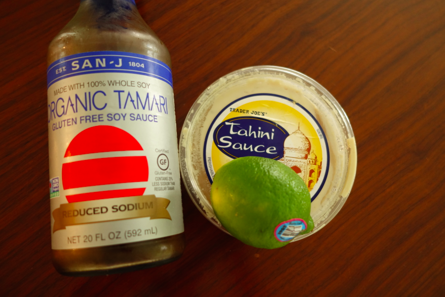 Make the dressing: tahini, soy sauce, lime, sesame oil.
