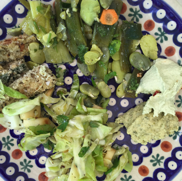 This is a typical meal at the Proskurowski Eugene household. It is a raw vinegar coleslaw, a fava bean salad, some breaded zucchini and the two different hummus mentioned!