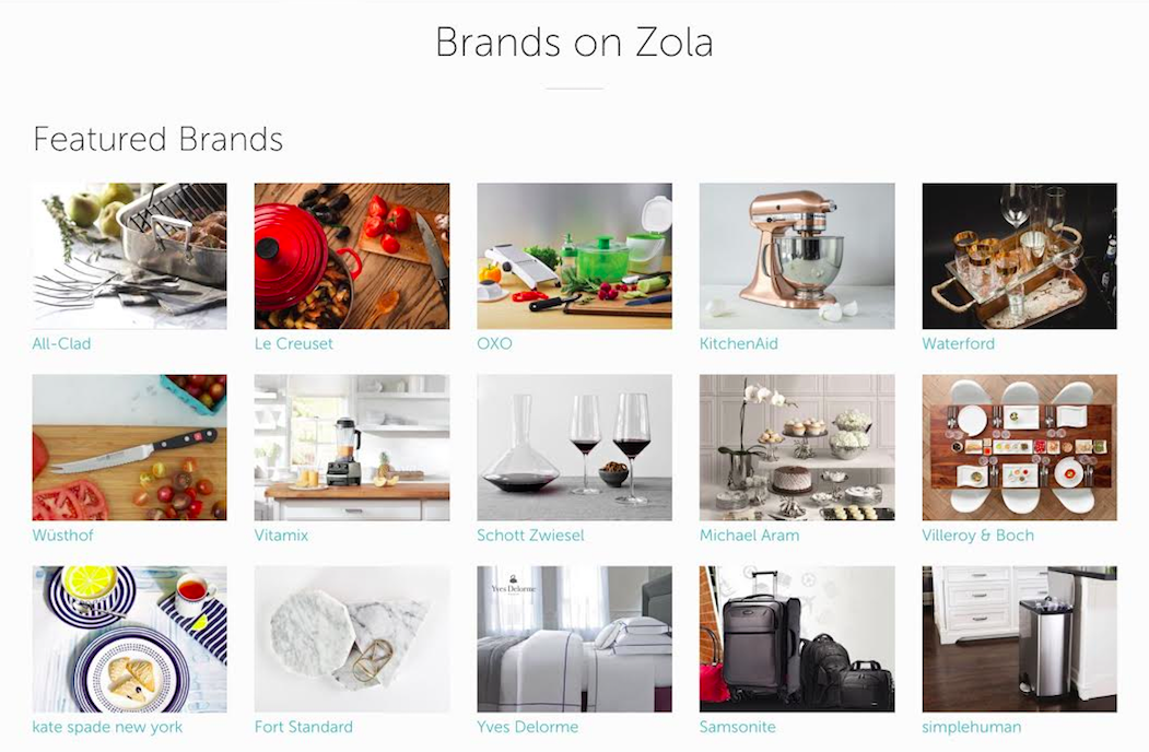 A sampling of some of the brands that Zola works with (hopefully soon they will work with Natori products!)