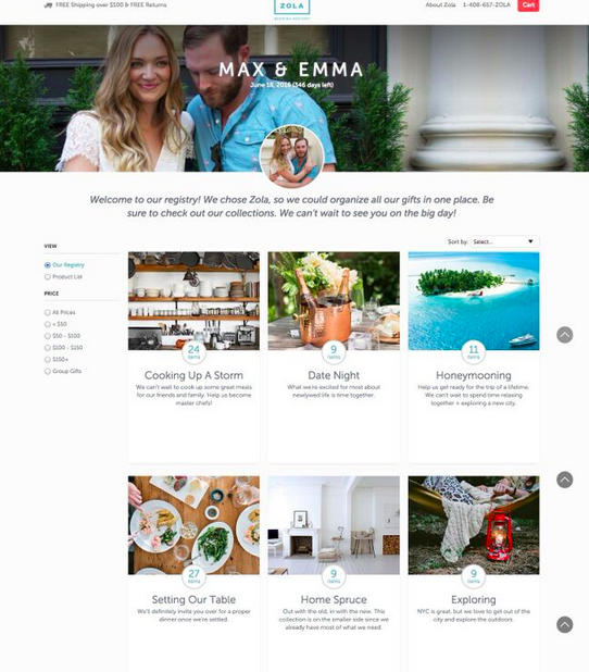 Max and Emma (whoever they are) and the homepage for their wedding guests.