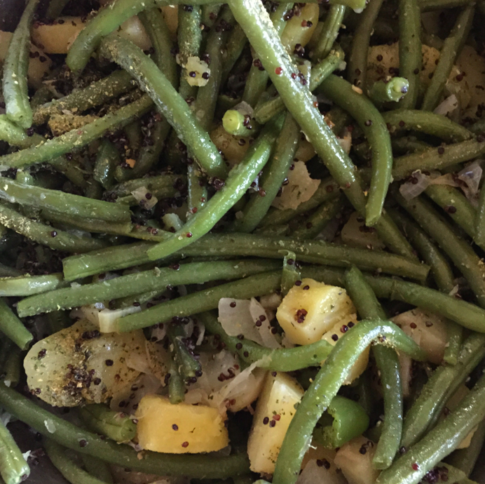 Green beans, potatoes, onions (from CSA).