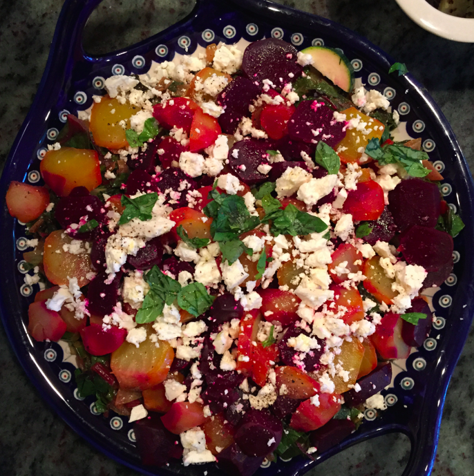 Beet salad made of roasted beets (recipe to come in future post), steamed swiss chard, feta, and basil.