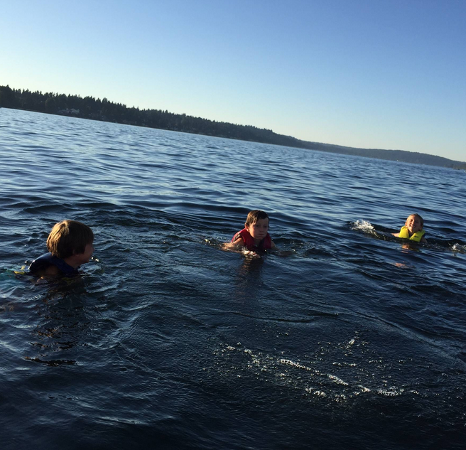 Lake Washington. The kids jumped out of the Lake to swim.