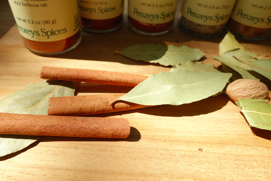 Cinnamon sticks, bay leaves, and nutmeg!
