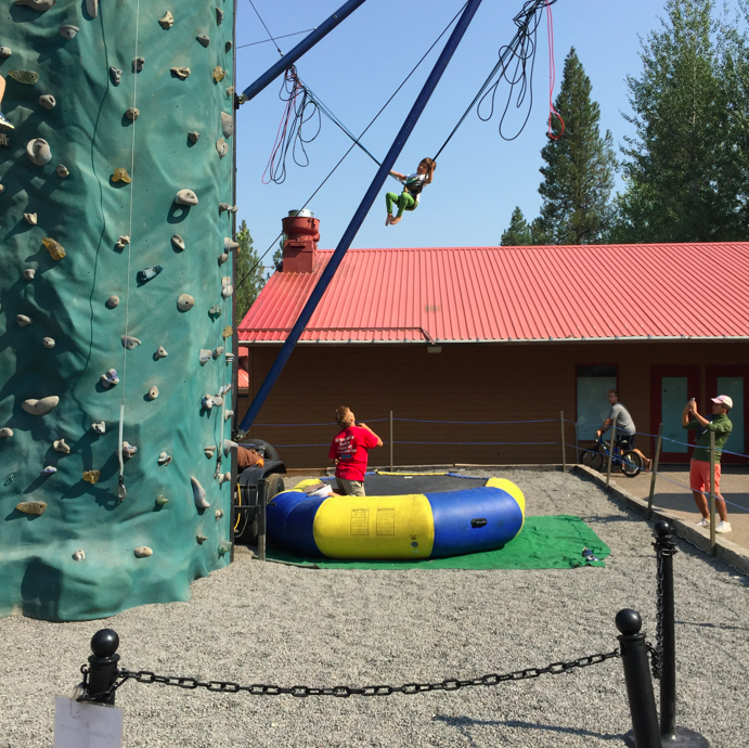 Fun activities in the village for the kids, such as a jumpy thing that makes you, well, jump.