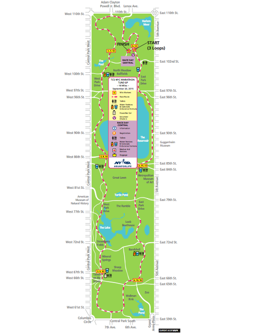 Central Park 18 mile tune up route. Three loops of the park! Three loops of the ups and downs of the g$d da*$%it hills.