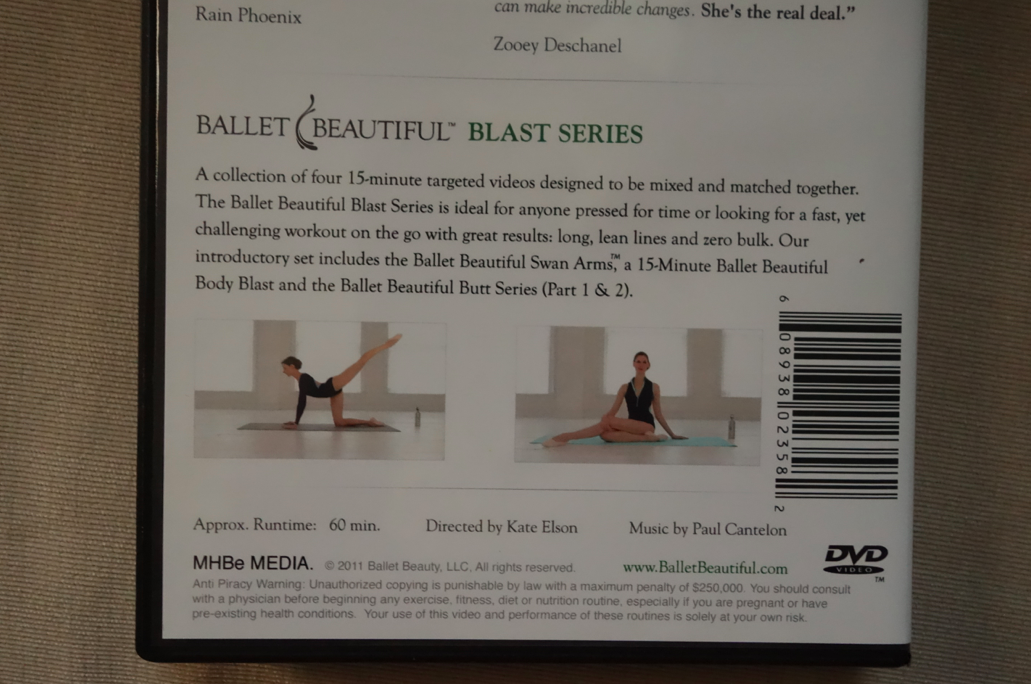 There are four 15 minute segments -- my favorite is the arm one. No matter how silly I look trying to flutter my arms around gracefully.
