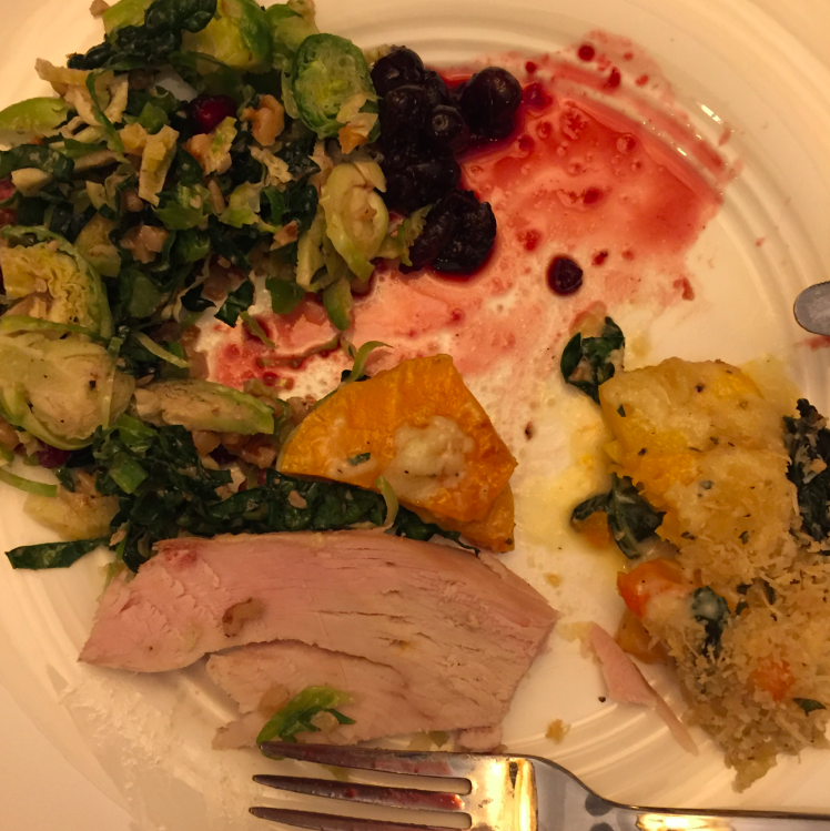 Thanksgiving dinner #2 -- YUP, two full meals for Thanksgiving, but this was the best meal of the day, week, month, year! Alicia is a fabulous cook and effortlessly made a kale brussel sprout salad, a squash kale gratin, a bread pudding stuffing,  and cranberry sauce. Ken made the most delicious turkey I have ever eaten. A home run for all our chefs (I sat on the couch and watched). Hip Hip Hooray to the chefs!