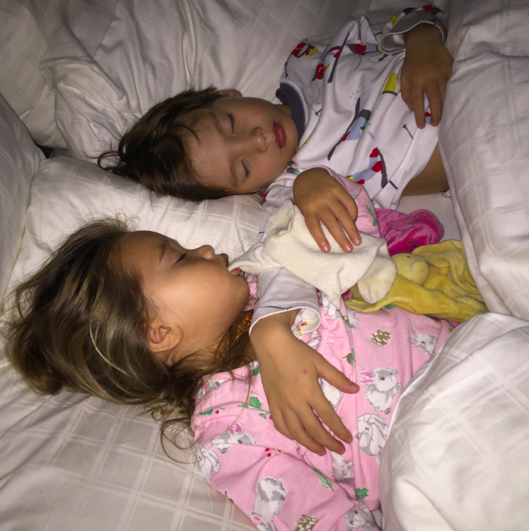 Nothing better than sleeping children, especially when they are cuddling and loving one another in their sleep.