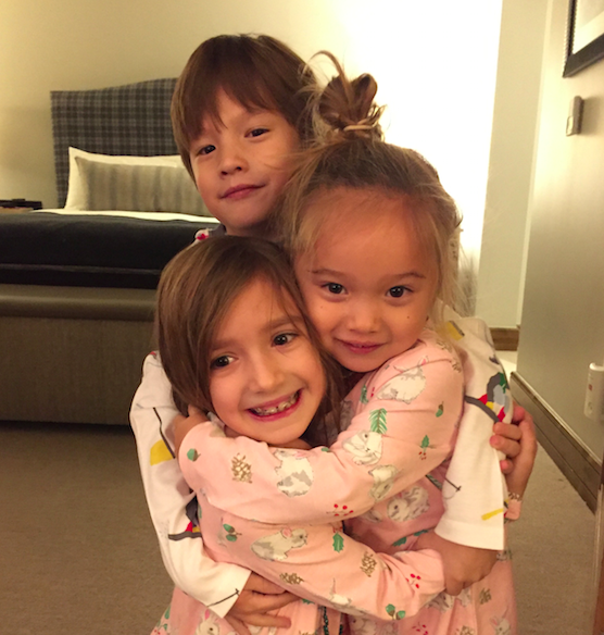 The three oldest kids (missing 5 month old little brother). They are wearing their special Thanksgiving pajamas, thought of by Alicia, who thinks of EVERYTHING always.