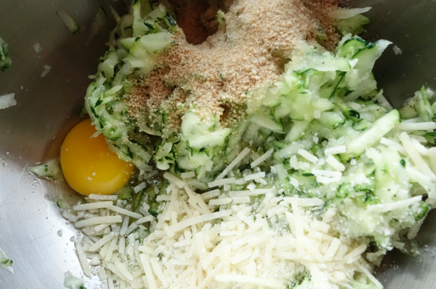 Add egg, bread crumbs and parmesan cheese.