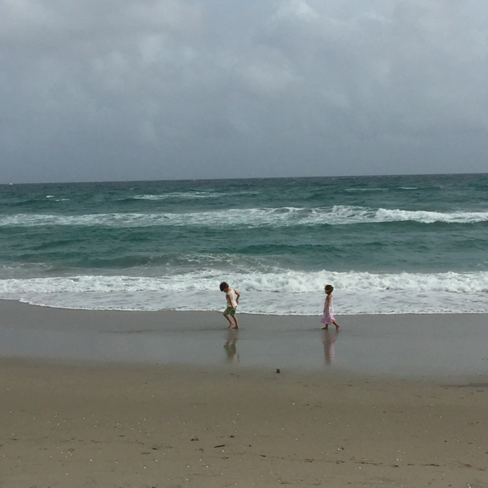 Sound of ocean (meditative) + Sound of kids (less so) = True Bliss.