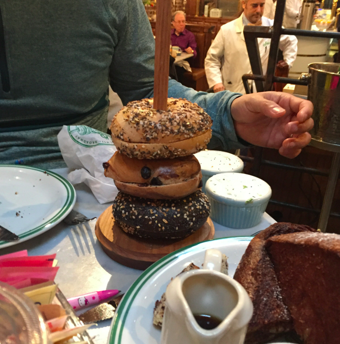 "Bagel tower. You get unlimited amount of bagels throughout your meal as the waiters yell ""HOT BAGEL"" when the bagels are hot. #PaleoDiet"