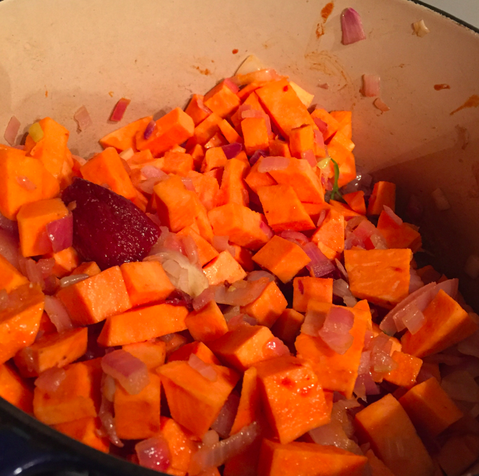 And sweet potatoes. Mix together.