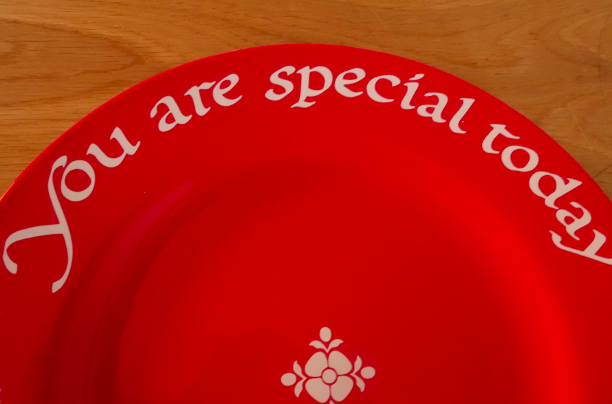 Starting at this big celebration in life, we are now going to use this special red plate at birthdays, awards, good effort, etc...I am so giddy about this silly idea of a simple red plate.