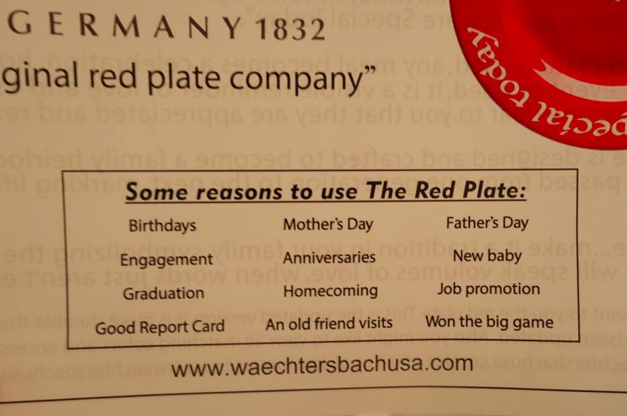 Various reasons to use the plate.