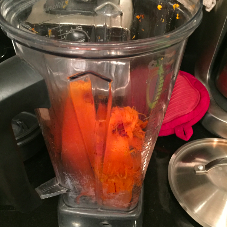 Put peeled yam into vitamix.