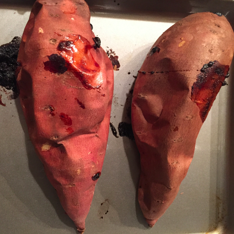 Roast the yams (nothing added to them) at 400 degrees for 30-40 minutes. You'll know when they are done.