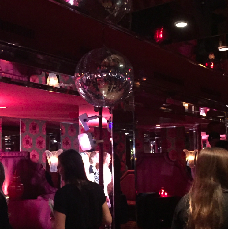 Why yes, that is a disco ball hanging on the ceiling (not part of the fashion show -- a permanent fixture at Doubles -- but wouldn't you have loved to have seen a disco party break out at the Show???)