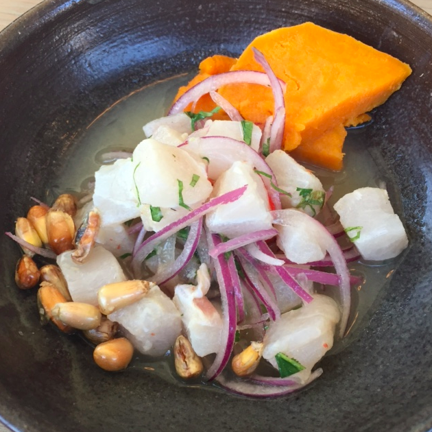 Ceviche: fish with lime, red onion, habanero, sweet potato, and cilantro.